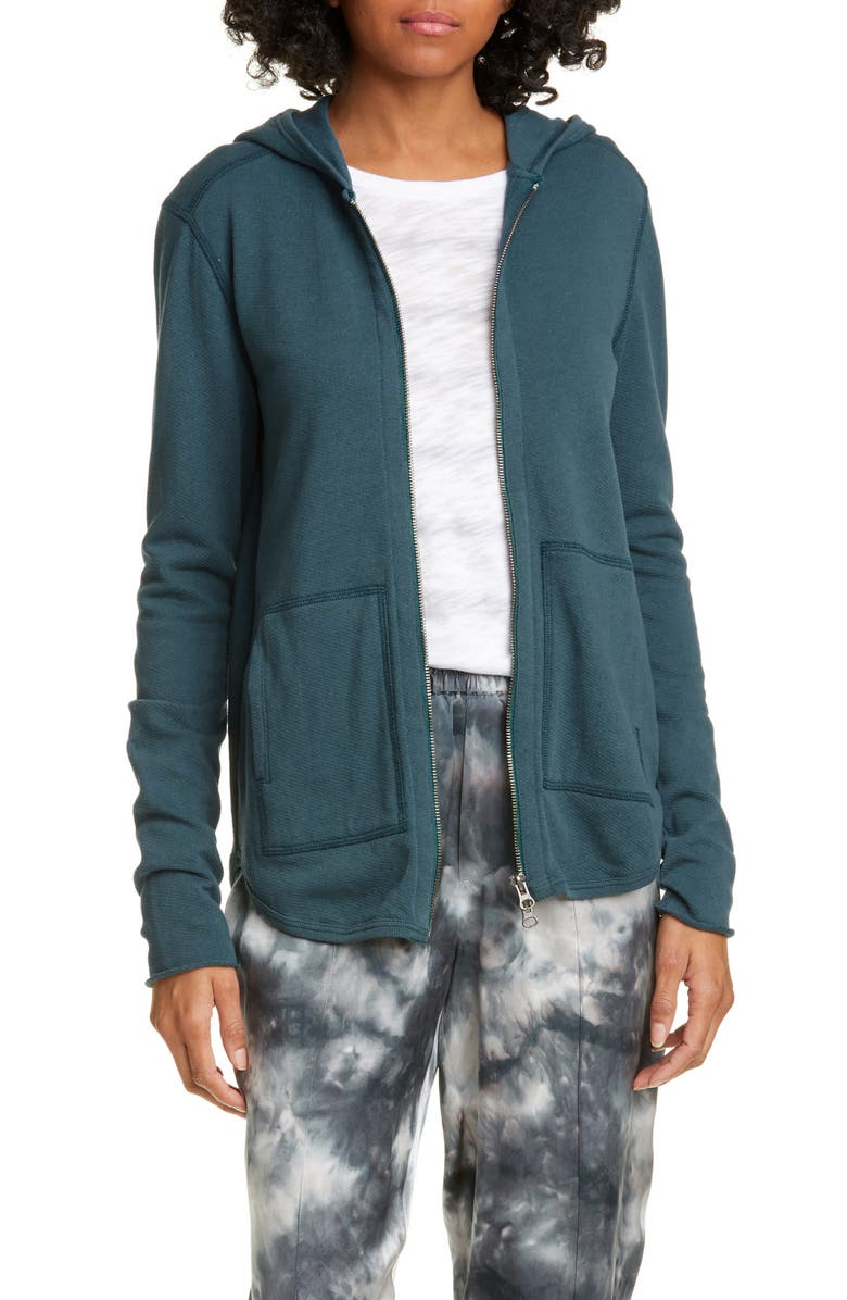 ATM ANTHONY THOMAS MELILLO Front Zip Hoodie, Main, color, SOLID TEAL