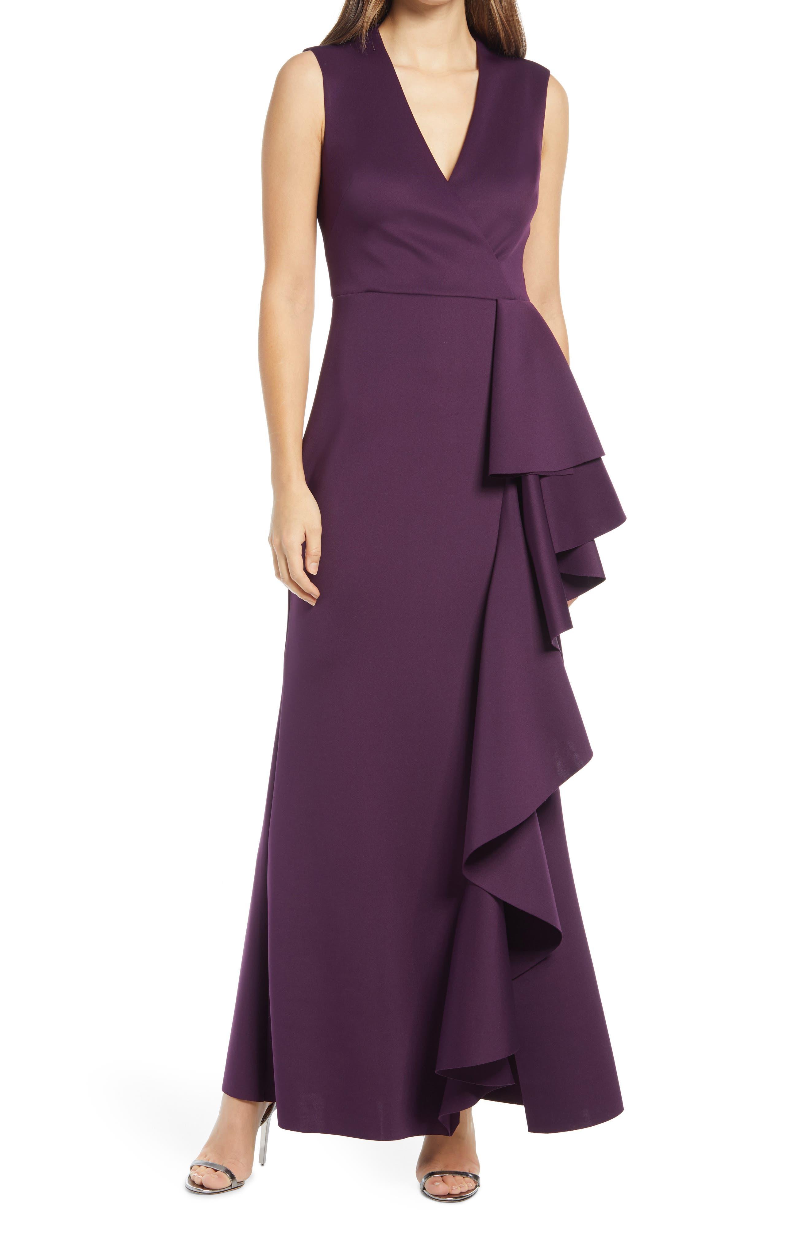 Ruffle Sleeveless Gown