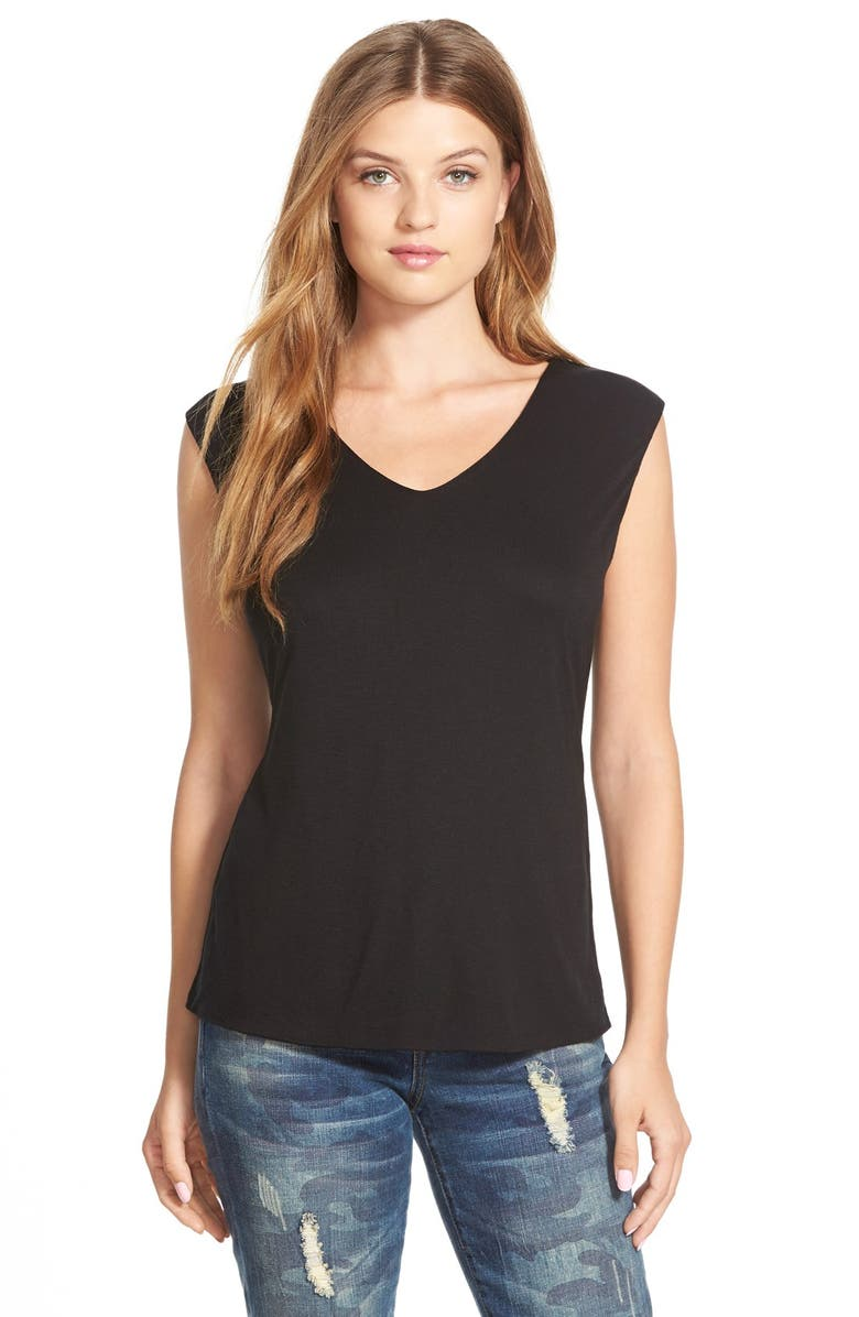HALOGEN<SUP>®</SUP> Sleeveless V-Neck Top, Main, color, 001