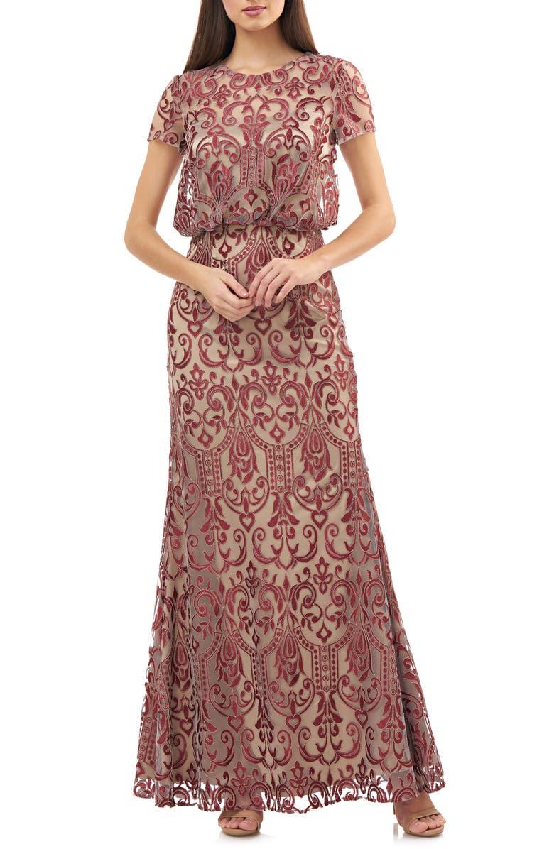 JS COLLECTIONS Blouson Lace Gown, Main, color, CABERNET GINGER
