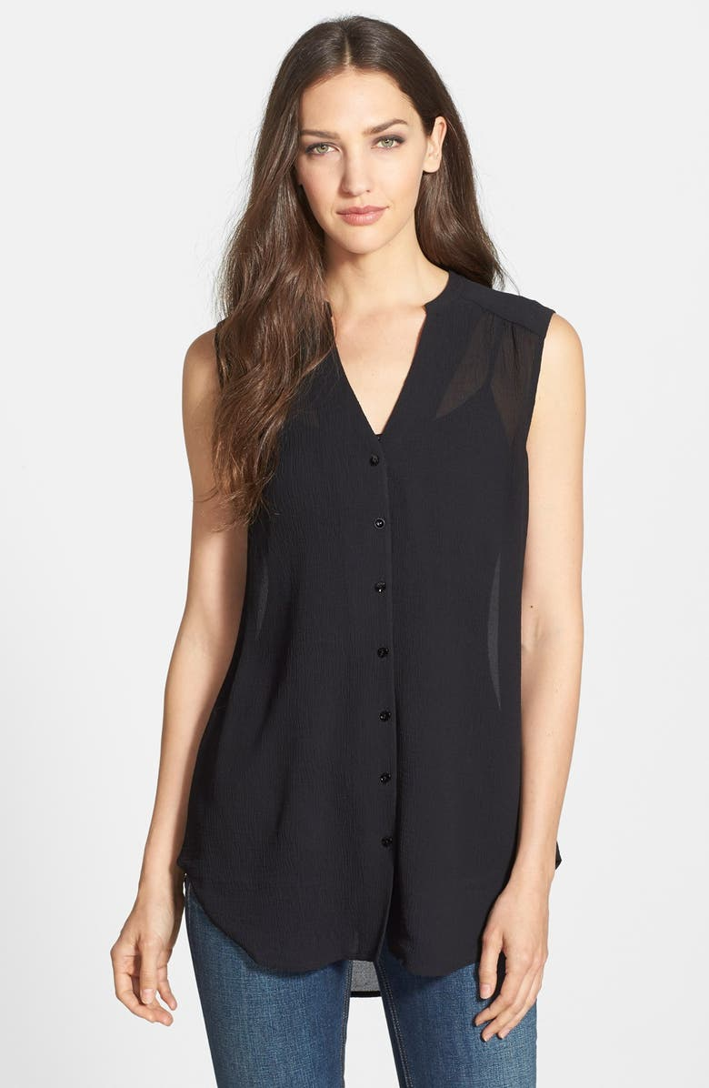 EILEEN FISHER Mandarin Collar Silk Shirt, Main, color, 001