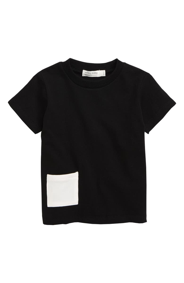MILES baby Stretch Organic Cotton T-Shirt, Main, color, BLACK