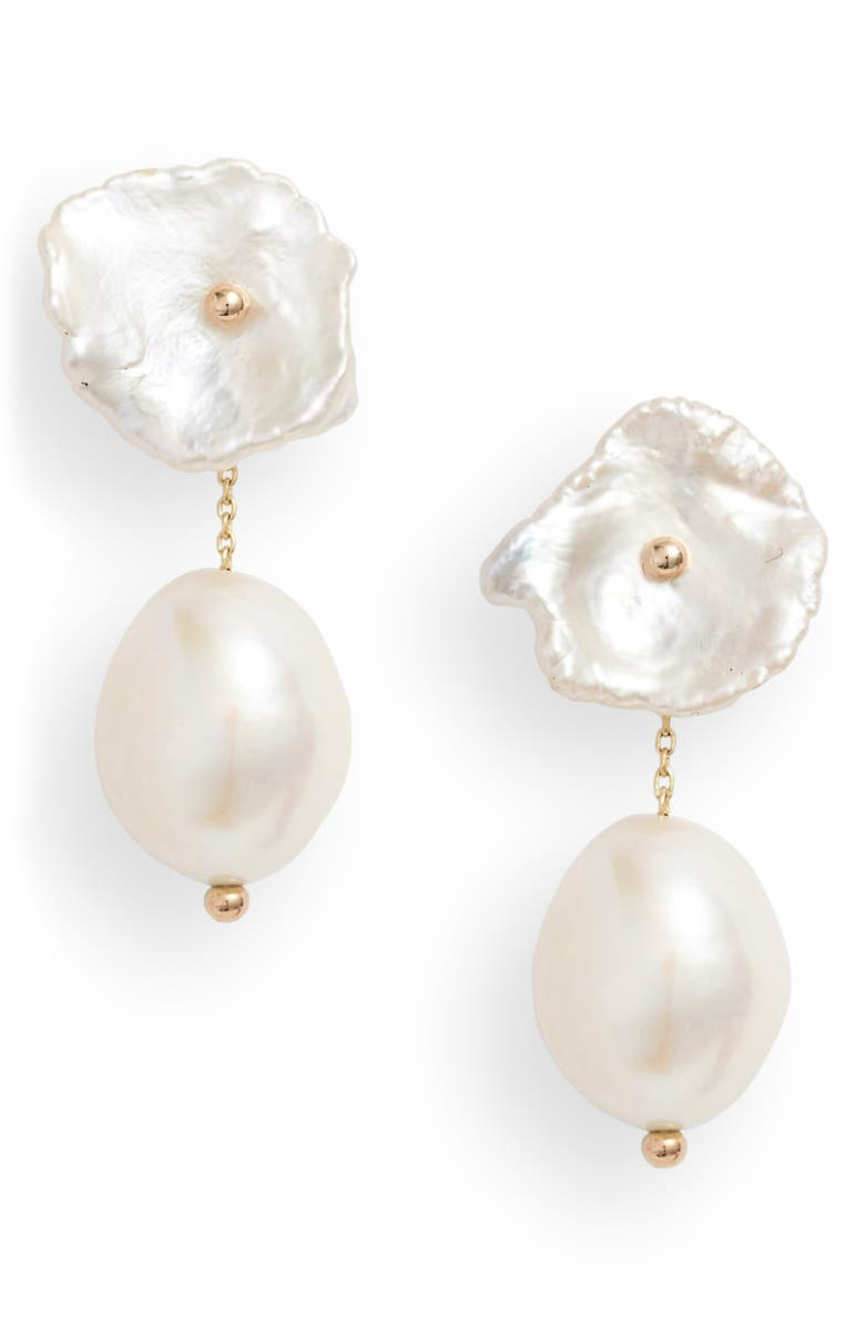 POPPY FINCH Petite Pearl Convertible Drop Back Earrings, Main, color, YELLOW GOLD/ PEARL
