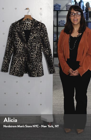 Toby Fitted Leopard Print Stretch Cotton Blend Blazer, sales video thumbnail