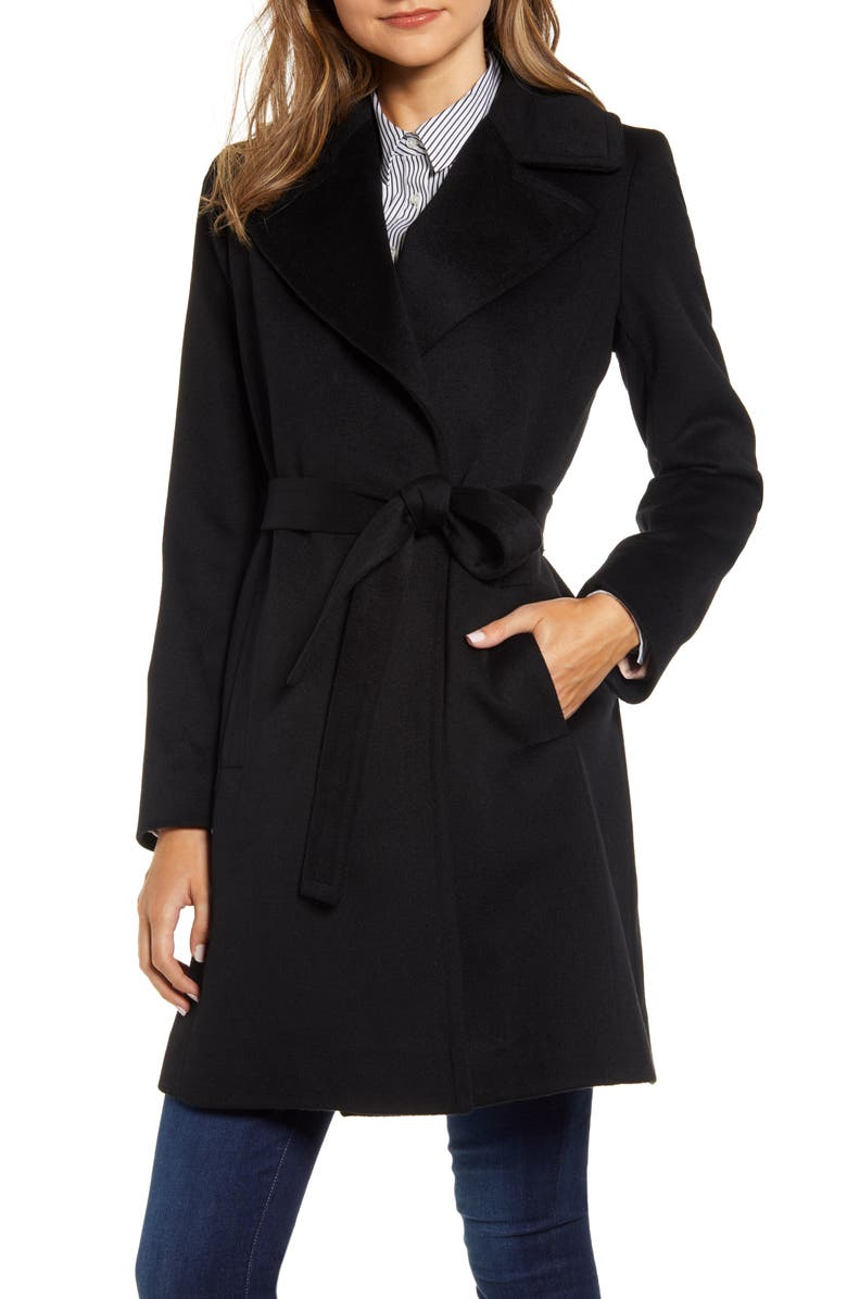FLEURETTE Wool Wrap Coat, Main, color, BLACK