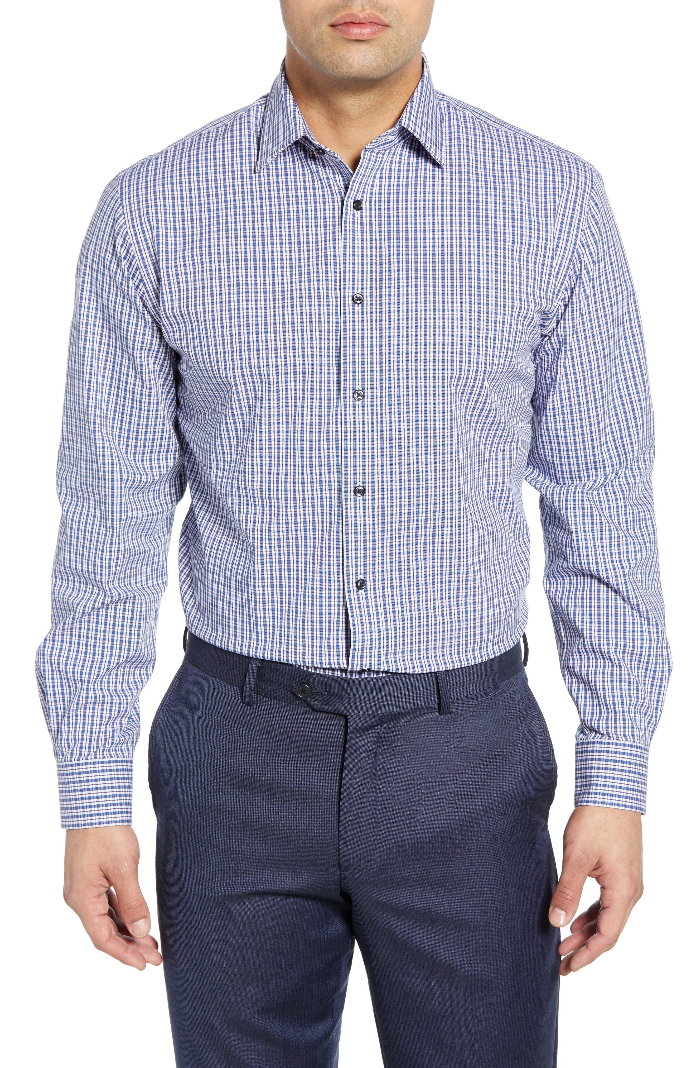 Tech-Smart Traditional Fit Plaid Stretch Dress Shirt, Main, color, NAVY DUSK
