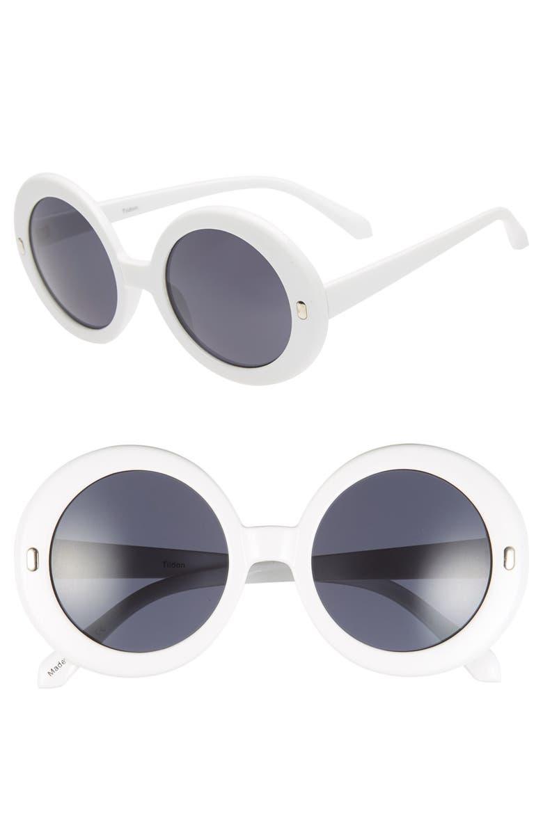 TILDON 60mm Round Sunglasses, Main, color, 100