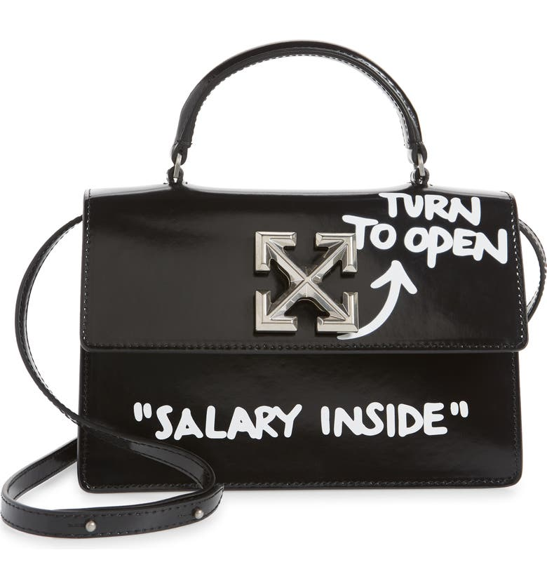 OFF-WHITE Jitney 1.4 Leather Crossbody Bag, Main, color, 001