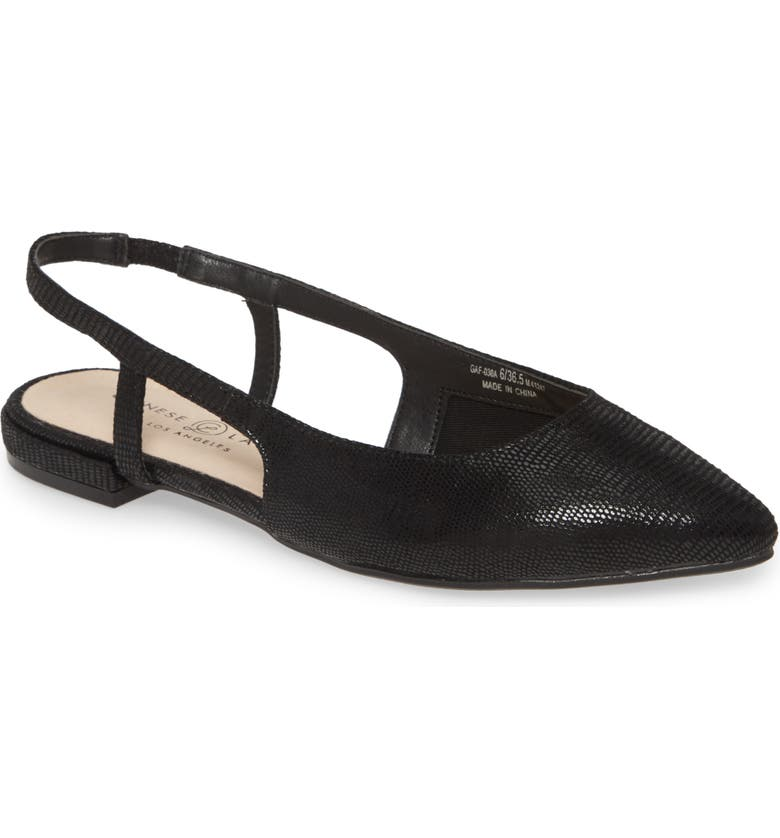CHINESE LAUNDRY Glow Slingback Flat, Main, color, BLACK FAUX LEATHER