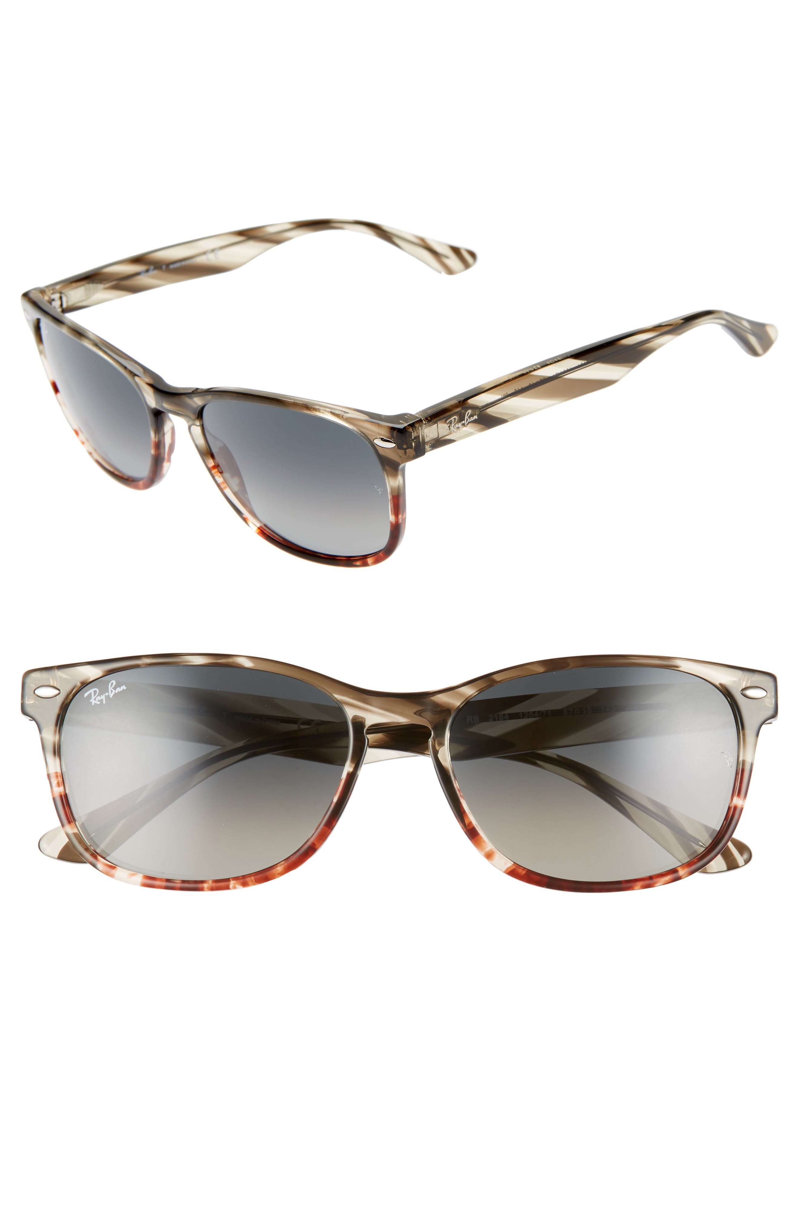 Ray-Ban Highstreet 57Mm Square Sunglasses - Brown/ Grey Gradient