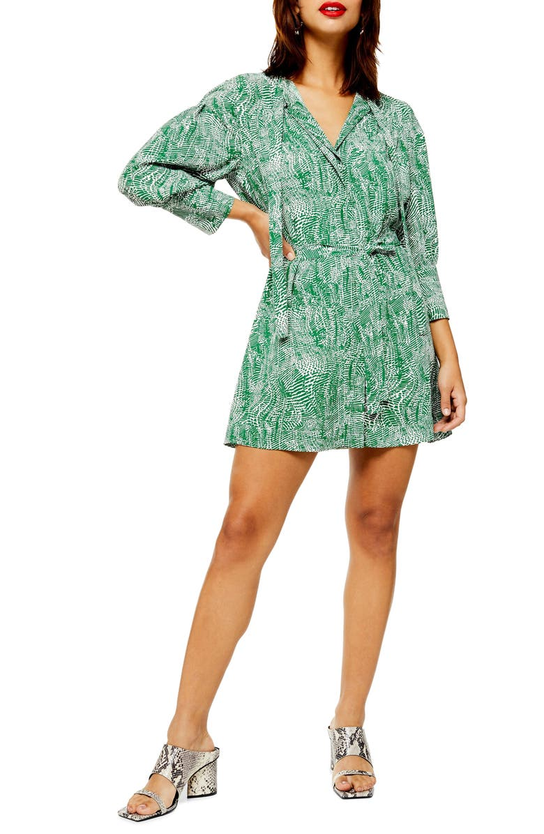 TOPSHOP Animal Print Shirtdress, Main, color, GREEN MULTI