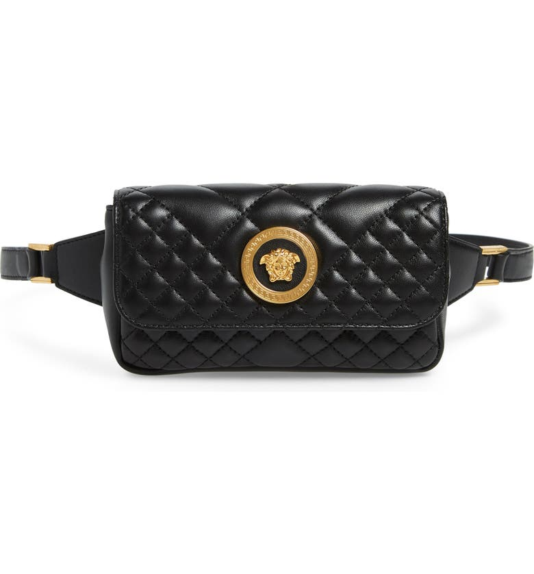 VERSACE FIRST LINE Icon Quilted Leather Belt Bag, Main, color, BLACK/ TRIBUTE GOLD