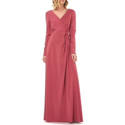 Kay Unger Adelina Long Sleeve Evening Gown, Red