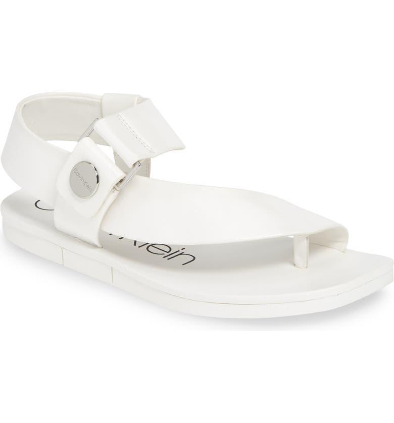 CALVIN KLEIN Rikki Sandal, Main, color, WHITE LEATHER
