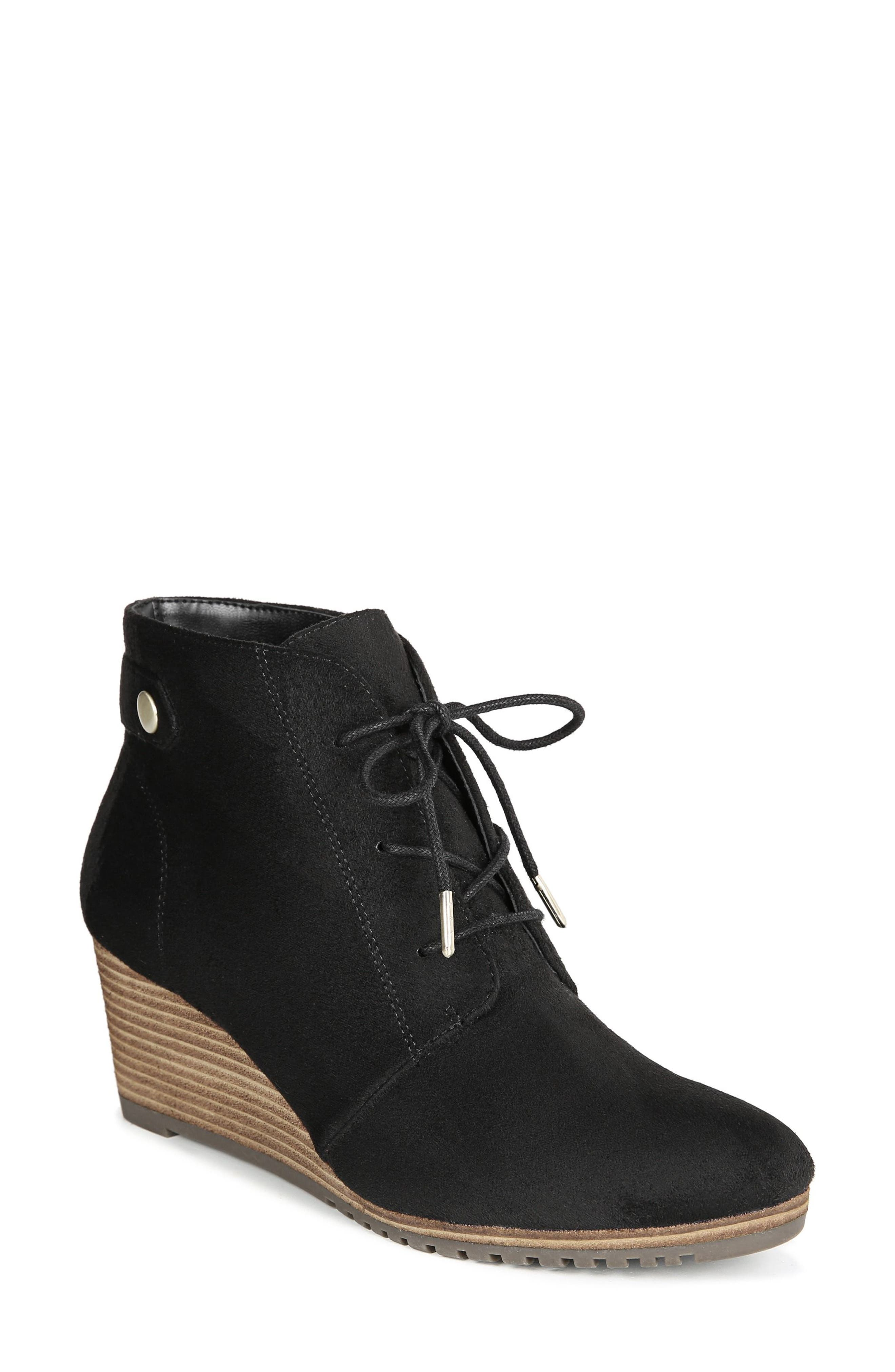 ,                             Conquer Wedge Bootie,                             Main thumbnail 1, color,                             BLACK FABRIC