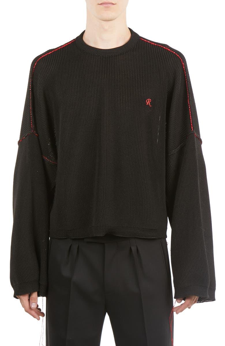 RAF SIMONS Crop Sweater, Main, color, 001
