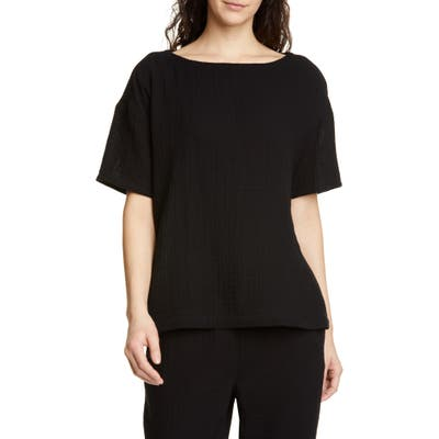 Eileen Fisher Boat Neck Boxy Organic Cotton Top, Black
