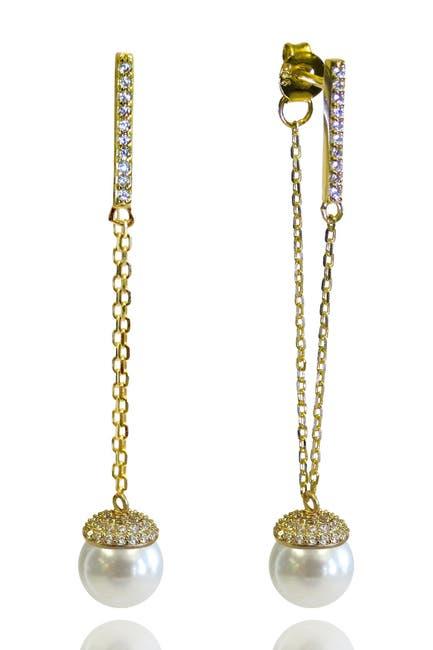 Image of Liza Schwartz 18K Gold Vermeil CZ Pave & 6mm Freshwater Pearl Drop Earrings