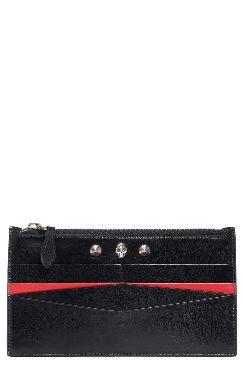 ALEXANDER MCQUEEN Skull Flat Leather Card Case, Main, color, BLACK/ NEW RED