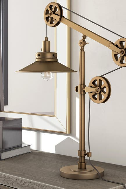 Image of Addison and Lane Descartes Brushed Brass Wide Brim Table Lamp with Pulley System