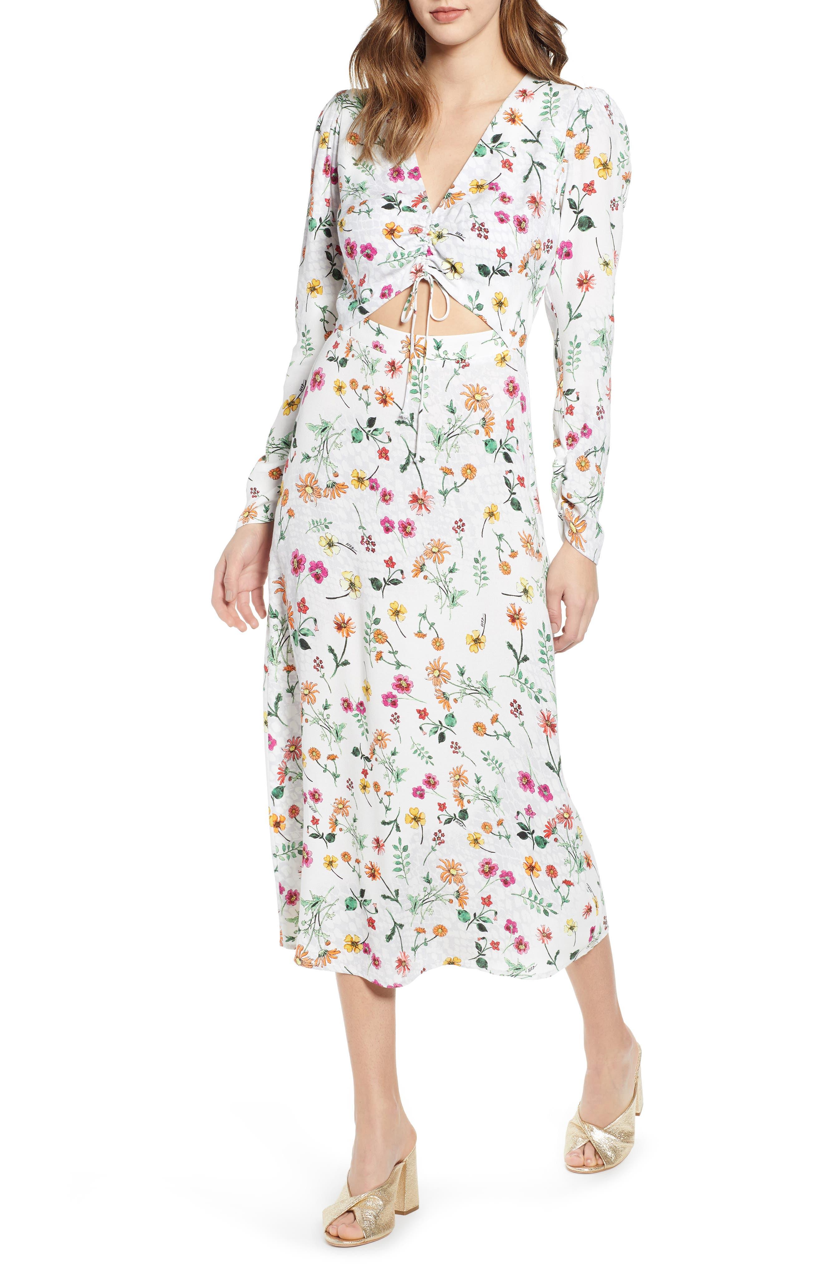 ,                             Carlo Cinched Front Midi Dress,                             Main thumbnail 1, color,                             PRINTEMPS FLORAL