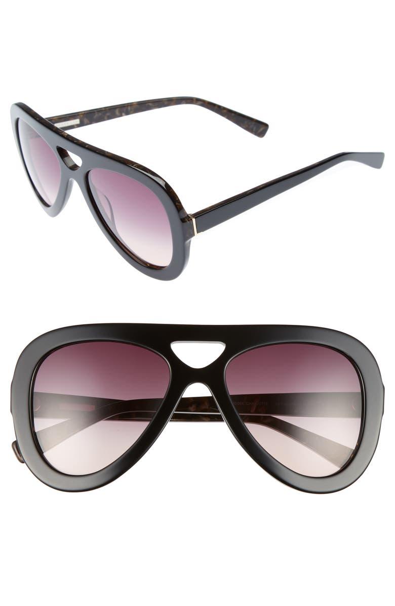 DEREK LAM 54mm Aviator Sunglasses, Main, color, 001