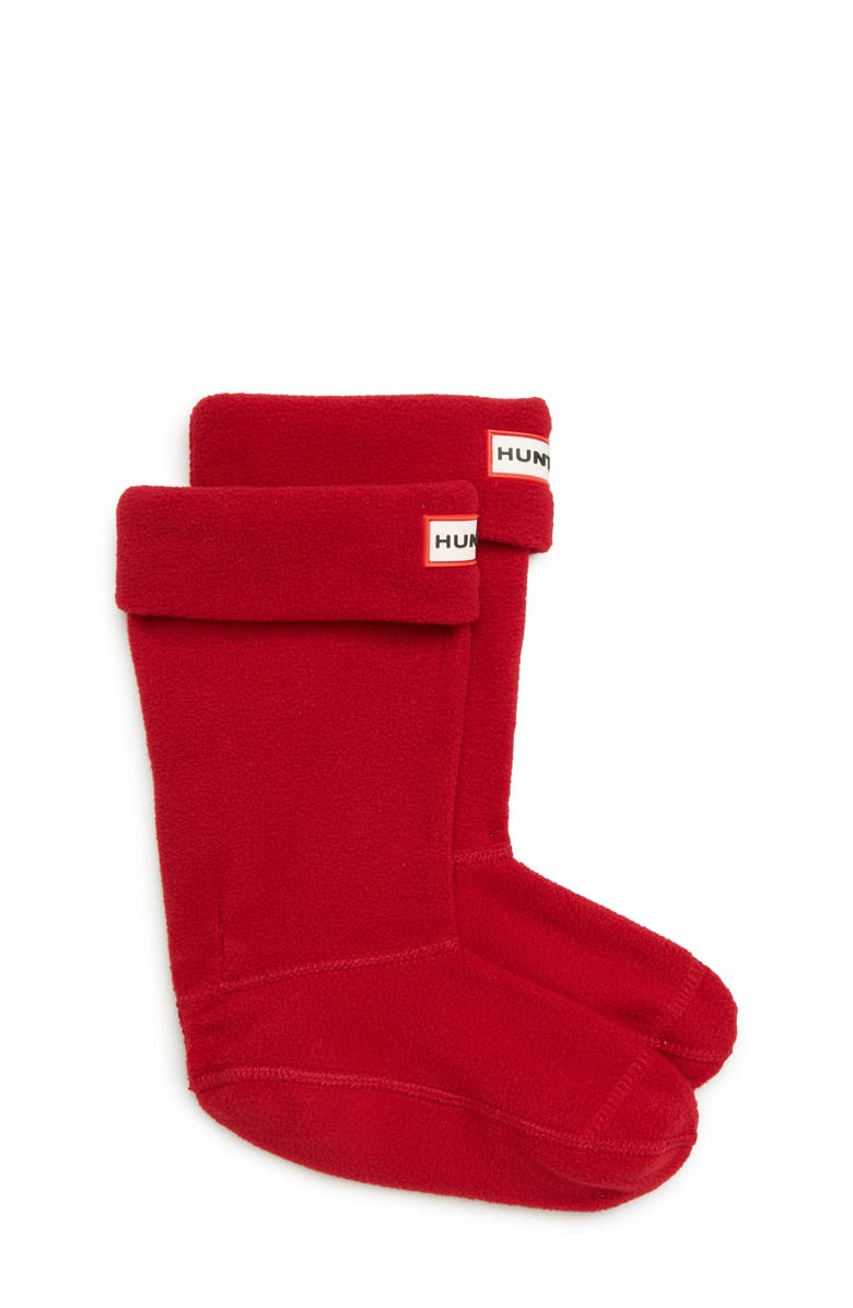 HUNTER Fleece Welly Boot Socks, Main, color, MILITARY RED