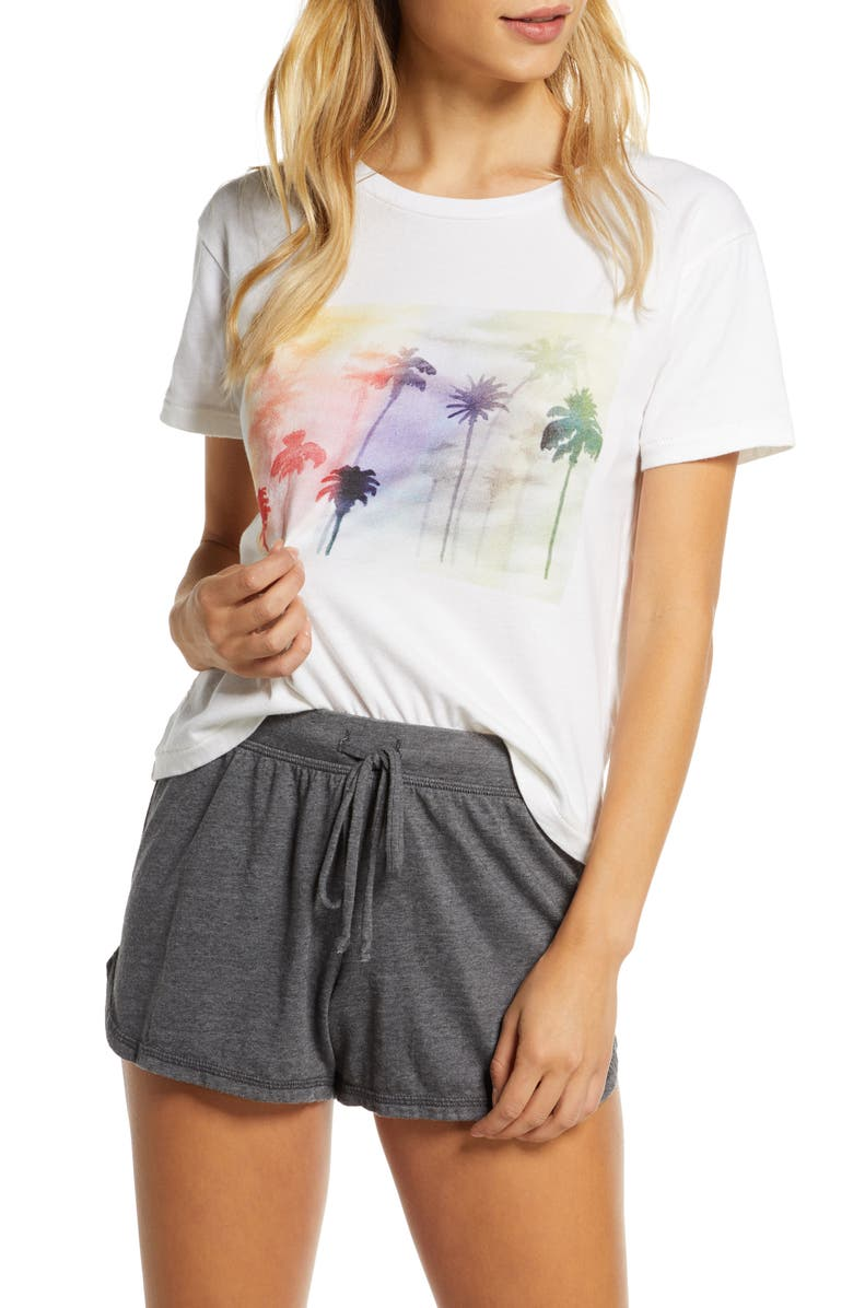 RAGDOLL Palm Print Crop Tee, Main, color, RAINBOW PALM
