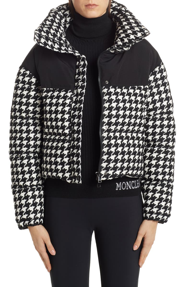 MONCLER Nil Houndstooth Quilted Down Jacket, Main, color, 001