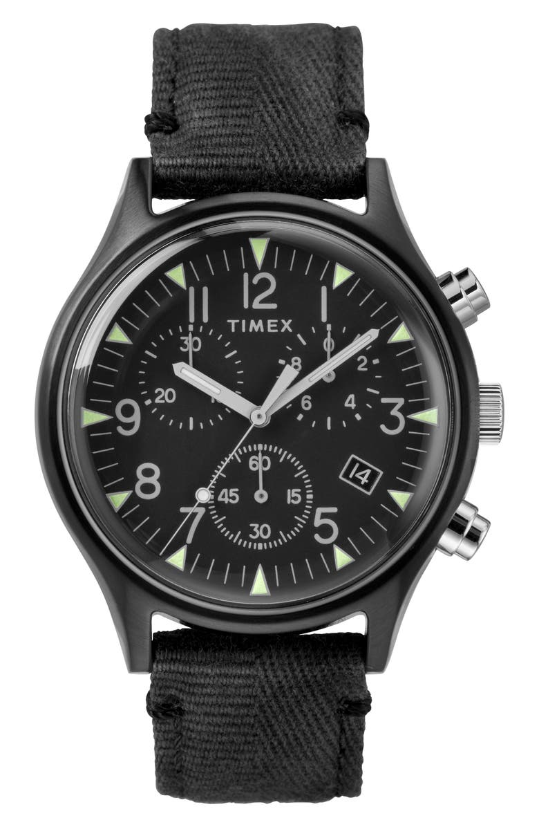 TIMEX<SUP>®</SUP> MK1 Chronograph Fabric Strap Watch, 42mm, Main, color, 001