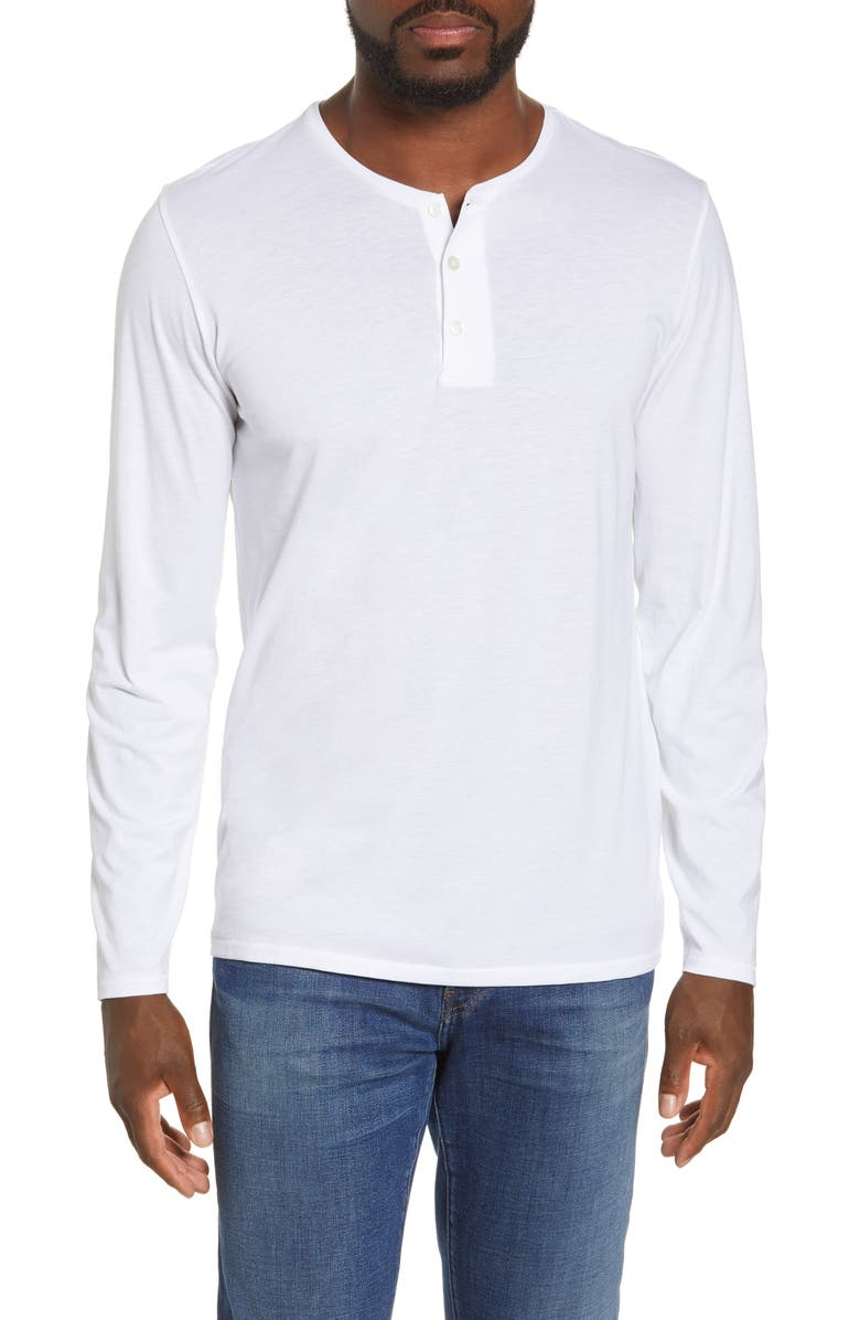 BONOBOS Superfine Cotton Blend Long Sleeve Henley, Main, color, WHITE