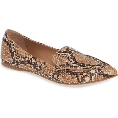 Steve Madden Feather Studded Loafer- Brown