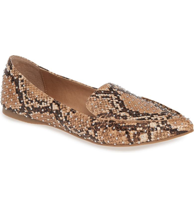 STEVE MADDEN Feather Studded Loafer, Main, color, TAN SNAKE PRINT