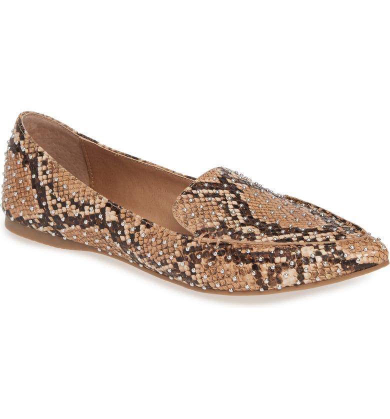 STEVE MADDEN Feather Studded Loafer, Main, color, TAN SNAKE PRINT