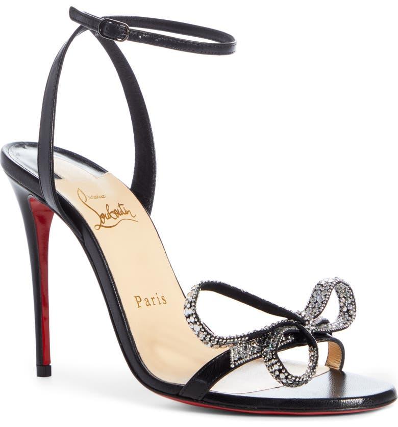 CHRISTIAN LOUBOUTIN Ankle Strap Bow Sandal, Main, color, 002