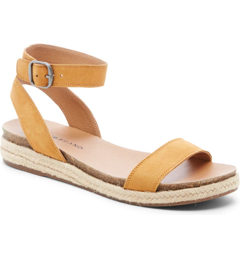 LUCKY BRAND Garston Espadrille Sandal, Main, color, OCHRE LEATHER