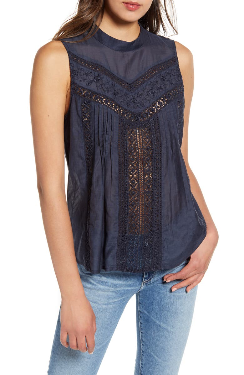 HINGE Sleeveless Embroidered Top, Main, color, 401