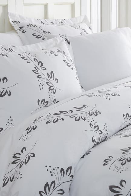 Image of IENJOY HOME Home Spun Premium Ultra Soft 3-Piece Simple Vine Print Duvet Cover Queen Set - Gray