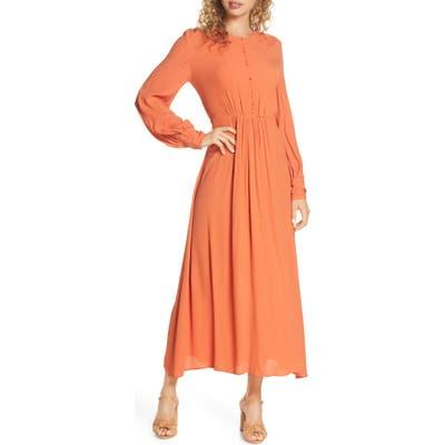 French Connection Essi Long Sleeve Crepe Midi Dress, Orange