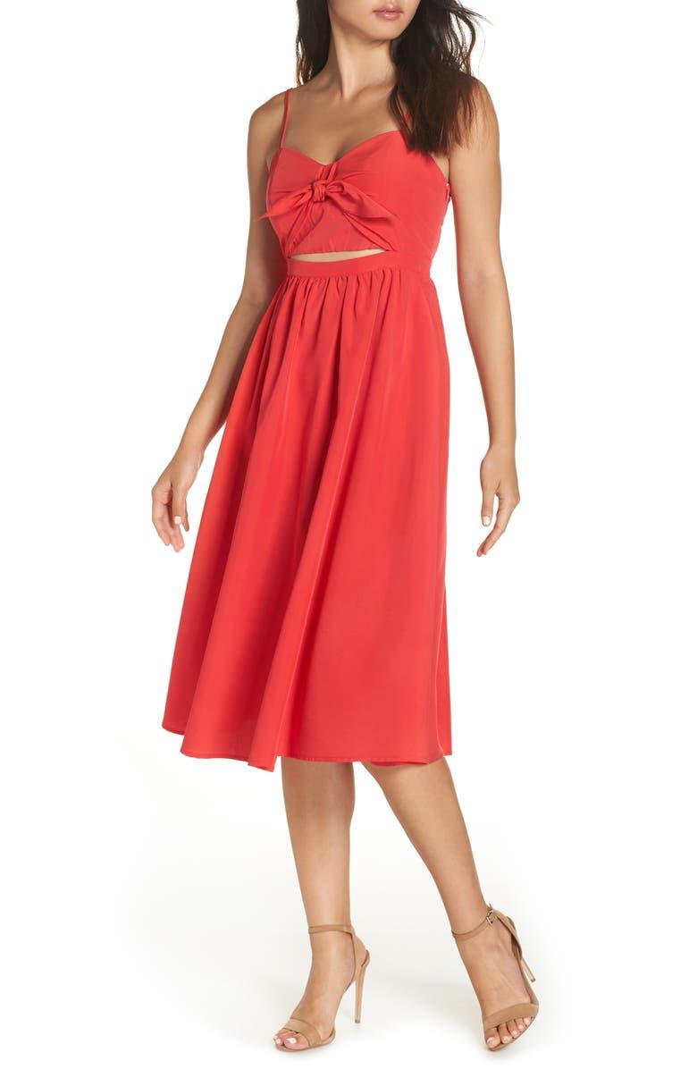 BARDOT Tie Front Midi Dress, Main, color, LAVA