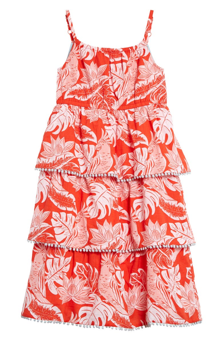 MINI BODEN Tropical Print Tiered Woven Sundress, Main, color, MALLOW RED PARAKEET PALM