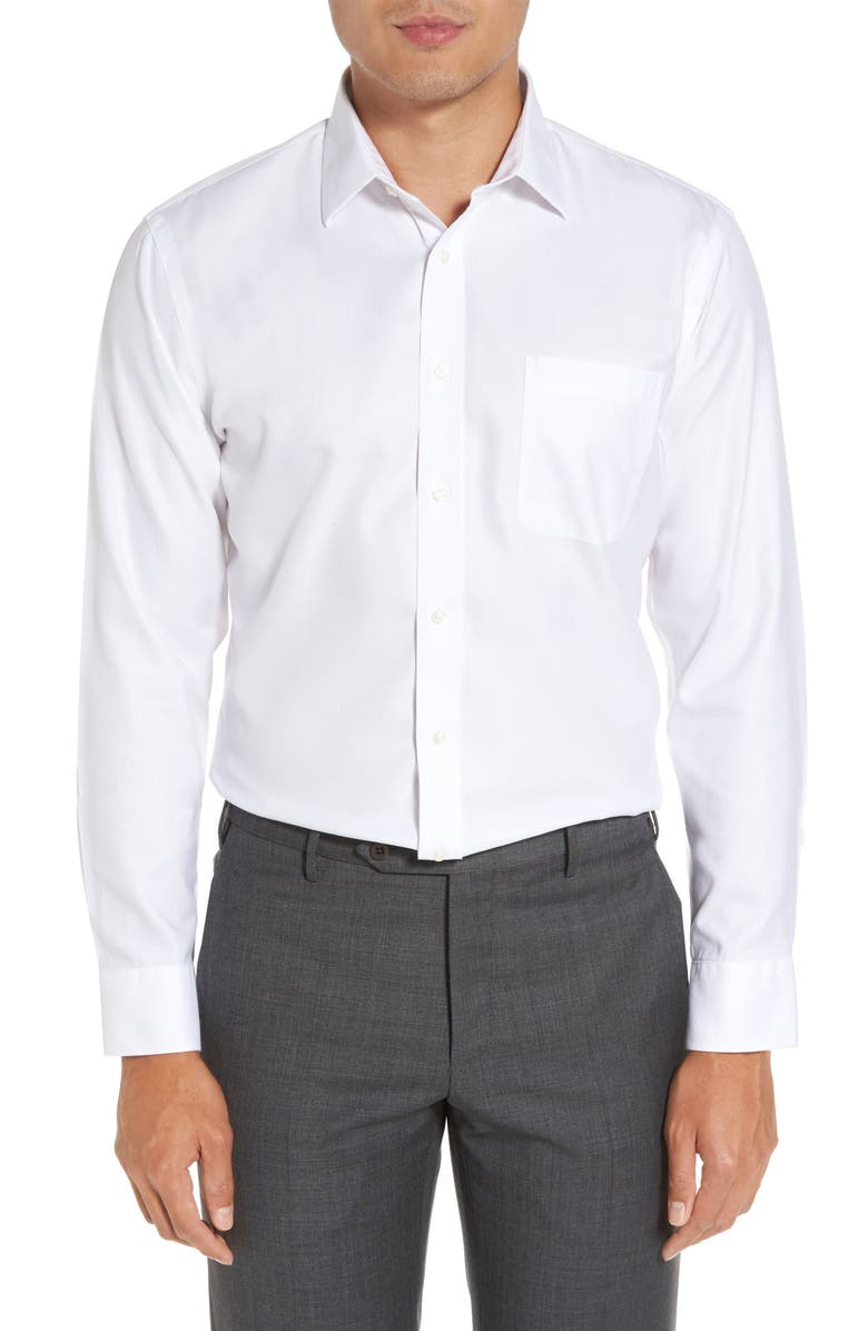 NORDSTROM MEN'S SHOP Smartcare<sup>™</sup> Trim Fit Herringbone Dress Shirt, Main, color, BRIGHT WHITE