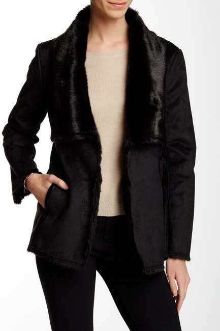 Image of Tart Chrissy Faux Fur & Faux Suede Coat