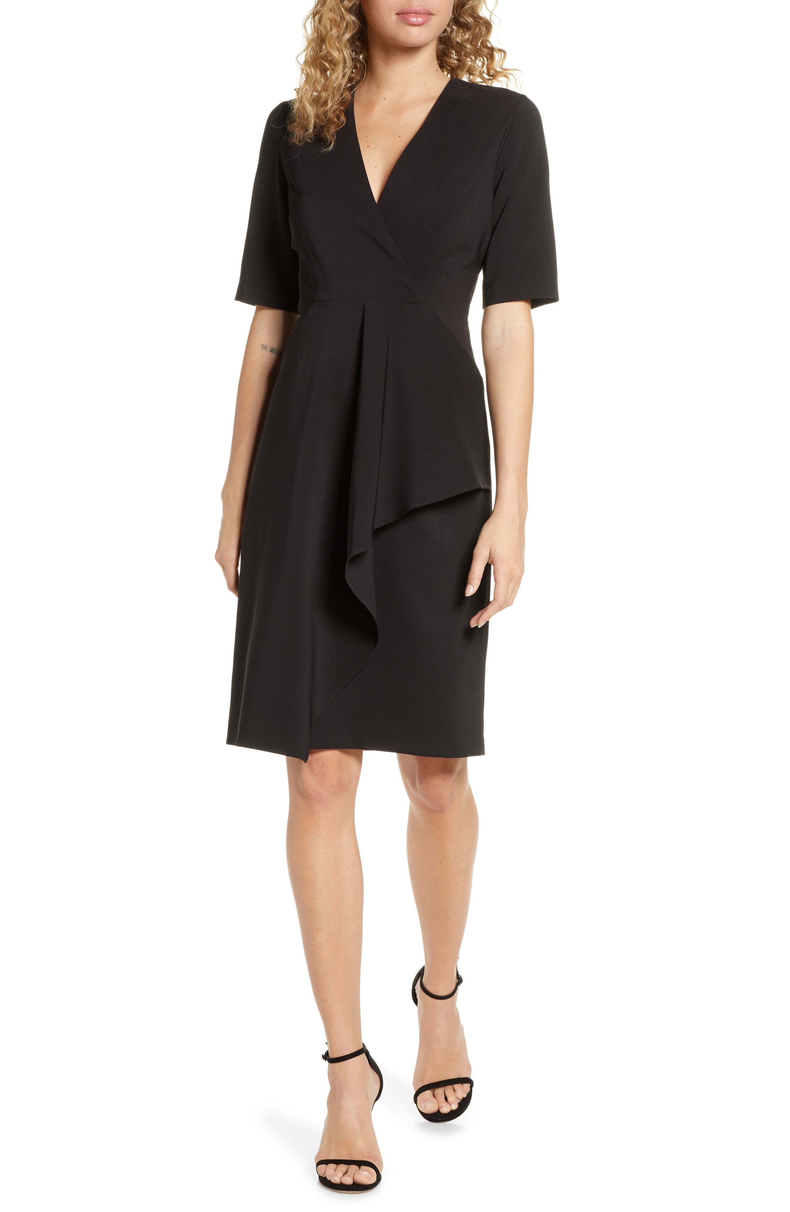 Maggy London Dream Cascade Crepe Sheath Dress, Black