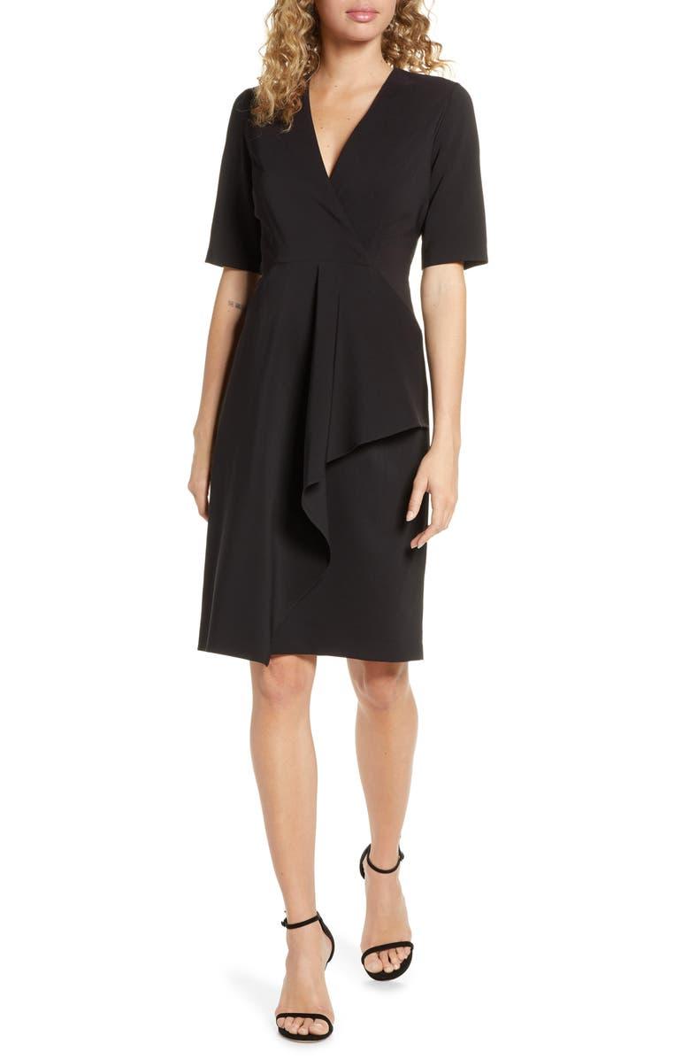 MAGGY LONDON Dream Cascade Crepe Sheath Dress, Main, color, BLACK