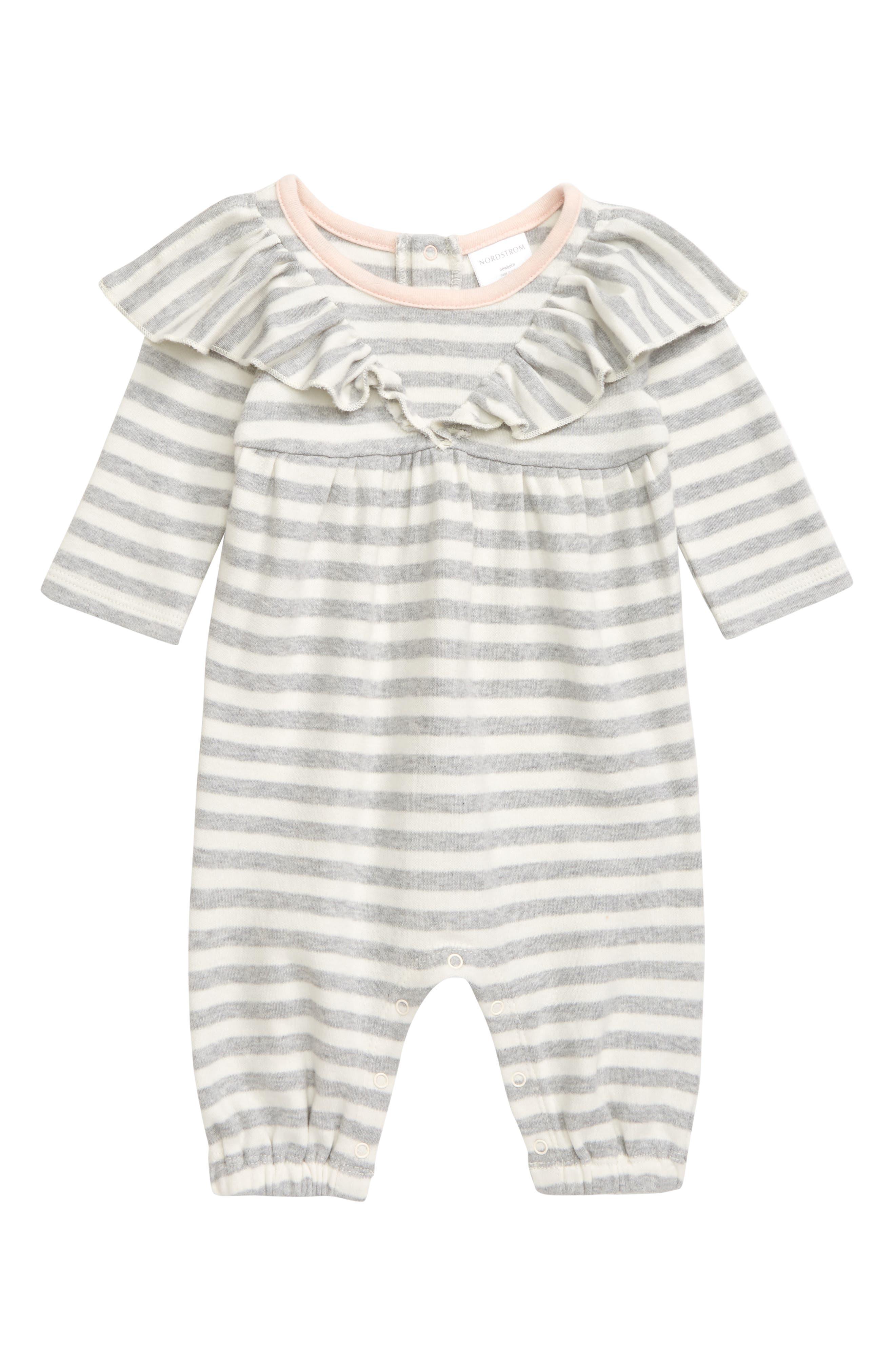 Boys Nordstrom Baby Ruffle Stripe Romper Size 12M  Grey