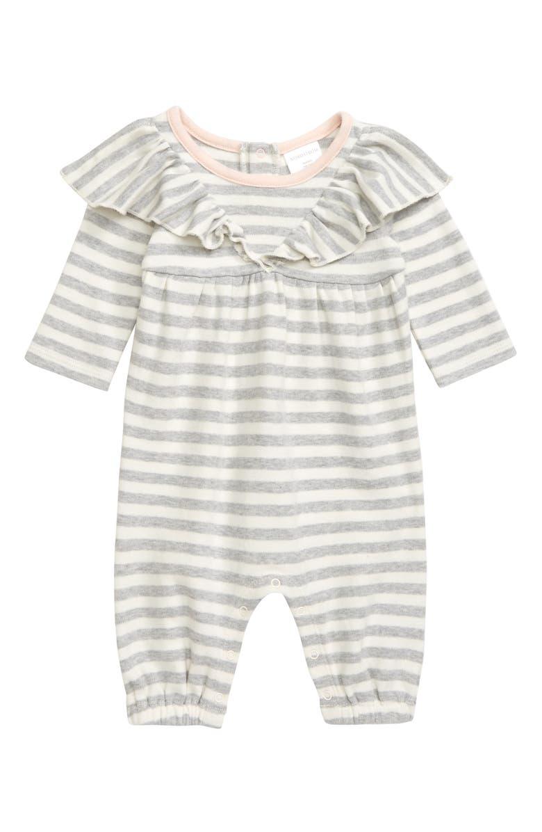 NORDSTROM BABY Ruffle Stripe Romper, Main, color, GREY ASH HEATHER- IVORY STRIPE