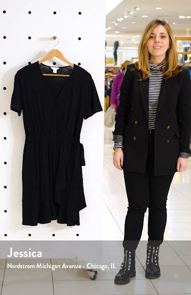 Asymmetrical Hem Faux Wrap Dress, sales video thumbnail