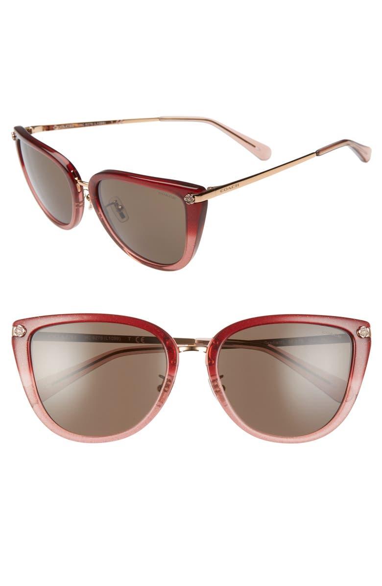 COACH Phantos 56mm Cat Eye Sunglasses, Main, color, 930