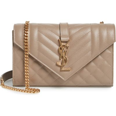Saint Laurent Small Cassandra Leather Shoulder Bag - Grey
